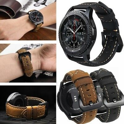 Genuine Matte Leather Watch Strap Band 20mm 22mm Stainless Steel Black Buckle