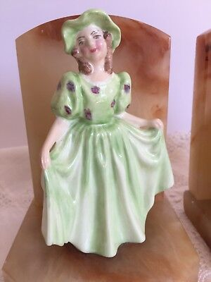 Watkin Lawton England China Figurine Onyx bookends, Pretty Girl Curtsy bookends