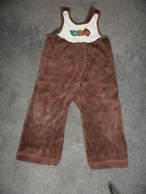 child's vintage St Michael brown cotton trousers with bib 12-18 months
