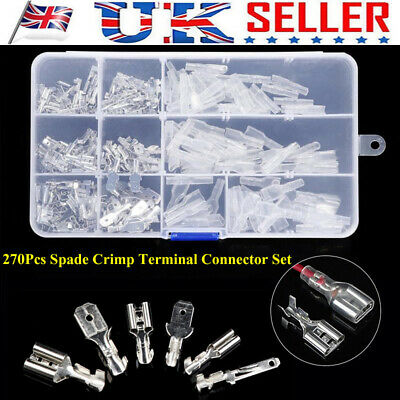 270Pcs Electrical Wire Terminals Assortment Set Insulated Crimp Connectors Spade