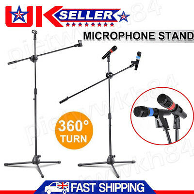 Microphone Stand Two Clip Mic Holder Telescopic Boom Adjustable Tripod 1 to 2 M