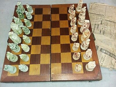 Okinawa Japan Hand Made & Carved Wood Clay Chess Set Board Japanese 1977 Vintage