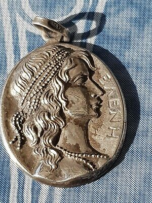 Antique Greek Silver Medal - Woman