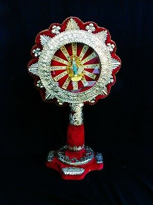 Very Large Antique French Monstrance Reliquary Popular Art, 19 Th. C.