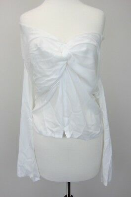 09f8668c77d594 BOOHOO WOMEN'S KEELEY Knot Front Blouse US 6 Ivory NWT - $16.96 ...