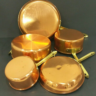 VTG Set of 5 copper pans and pots made in Portugal