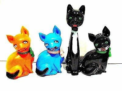Vintage Celluloid 4 CATS  Toy Plastic made in Portugal in the 1960's