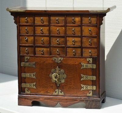 Vintage Chinese Apothecary Medicine Herbal Display Cabinet Chest Calligraphy