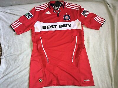 brand new f72e8 20add ADIDAS CHICAGO FIRE MLS Authentic 2010 Techfit Soccer Jersey Size Large