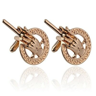 Gold Game of Thrones Hand Of The King Queen Lannister Cufflinks Suit Gift Bag