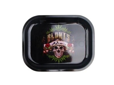 Smoke Arsenal BLUNTS & ROSES Cigarette Tobacco Metal Small Rolling Tray 7x5