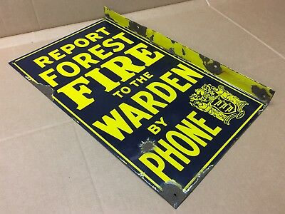 Vintage New Jersey REPORT FOREST FIRE TO WARDEN BY PHONE Porcelain Flange Sign