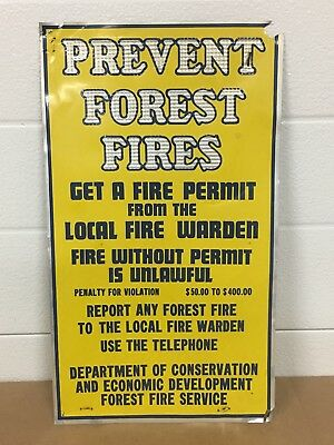 Vintage PREVENT FOREST FIRES tacker Sign fire warden fire permit
