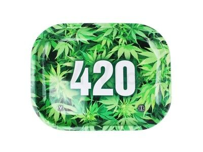 V-Syndicate 420 GREEN Cigarette Tobacco Metal Small Rolling Tray 7x5