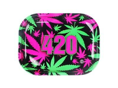 V-Syndicate 420 RETRO Cigarette Tobacco Metal Small Rolling Tray 7x5