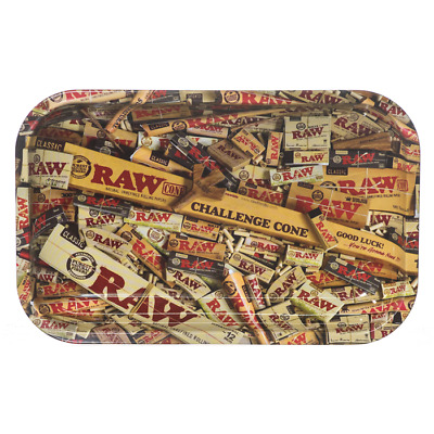 RAW COLLAGE MIXED Cigarette Tobacco Metal Medium Rolling Tray 7x11.5