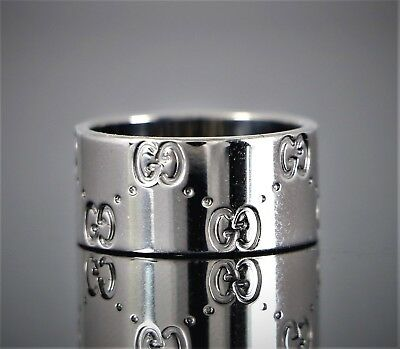 03434eab6 $1,500 Unisex Gucci ITALY Icon 18K White Gold 9mm Wide Large Ring Band Size  5.75