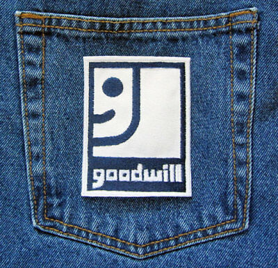 GoodWill Industries Logo Navy and White Sew On Iron On Embroidered Novelty Patch