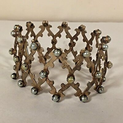Vtg Art Deco STEAMPUNK Style Accordion Expandable Bracelet Metal Hair Piece