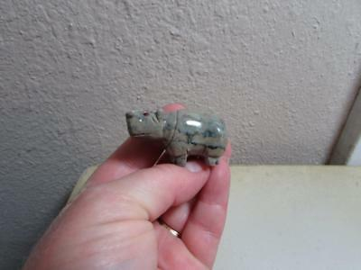 Hippopotamus, Hand carved Stone from the Andes of Peru Miniature Rich Hued Hippo