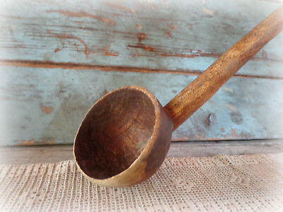 early American primitive antique ladle spoon dipper 1800s hand carved wood 21""
