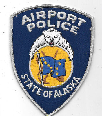 """Police Patch: Airport Police State Of Alaska, Ak Measures 4"""" X 5"""""""