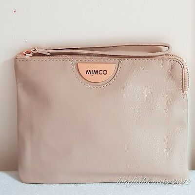 Free Post Mimco Echo Pancake Rose Gold  Medium Pouch Wallet Cow Leather Rrp99.95
