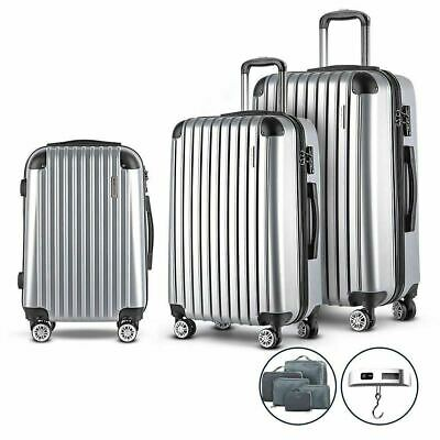 3 pcs Suitcase Luggage Trolley Hard Case Travel Lightweight Bag Carry Set Silver
