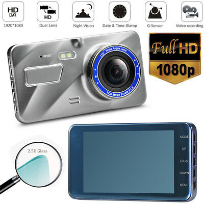 "4"" IPS Dash Cam FHD 1080P Front and Rear Car Dashboard Camera 170° DVR Recorder"