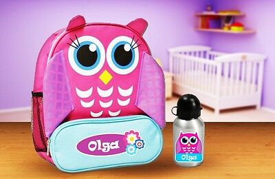 Personalised Kids Owl Animal Backpack and drink bottle for daycare