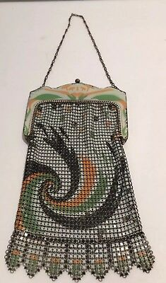 Vtg Antique Art Deco Whiting & Davis Metal Enamel Mesh Flapper 1920s Bag Purse