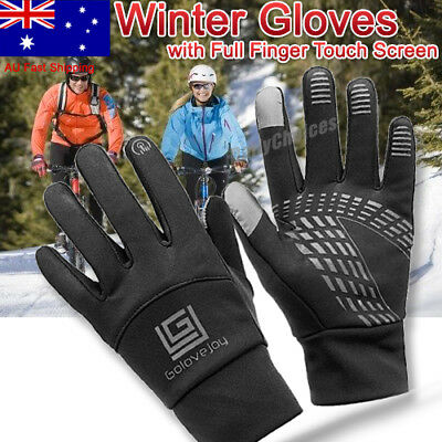AU Unisex Touchscreen Winter Warm Fleece Lined Thermal Gloves For Skiing Outdoor