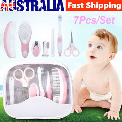 7pcs/set Baby Grooming Kit Infant Daily Nurse Tool Hair Brush Nail Scissors New