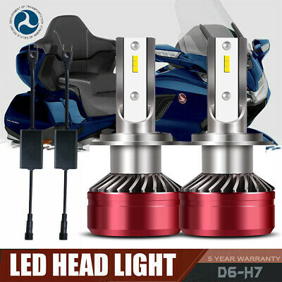 Pair H7 60W LED Headlight Bulb for Honda GL1800 Goldwing 01-15 and Sport Bike CA