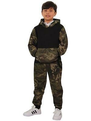 Kids Boys Girls Designer Camouflage Contrast Tracksuit Top & Bottom Jogging Suit