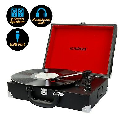 NEW mbeat Vinyl Record Player Retro Briefcase Style USB Digital 60s Suitcase