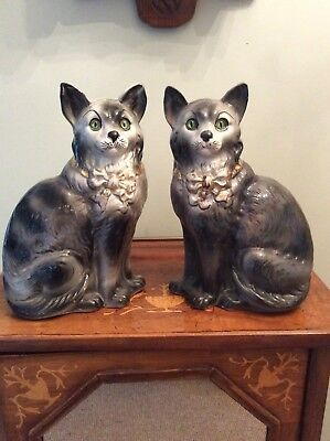 Pair Of Genuine Antique Bo Ness Staffordshire Type Flat Back Cats 1908
