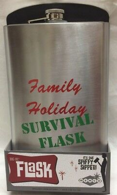 NEW Family Holiday Survival Flask 64 oz Stainless Steel Party Fun Novelty Gift