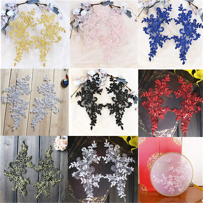 1 Pair DIY Bridal Lace Applique Floral Corded Wedding Motif Lace Applique Trim