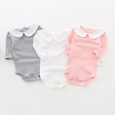 Baby Girl Jumpsuit Long Sleeve Cotton Clothing Solid Collar Rompers For Newborn