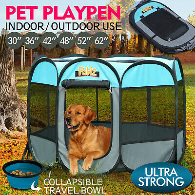 PaWz Portable Pet Playpen Dog Play Crate Cage with Collapsible Puppy Feeder Bowl