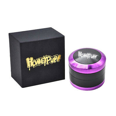 1 x Honeypuff 4 Layers 2.5 Inch Herb Grinder Aluminum Tobacco Crusher - Purple