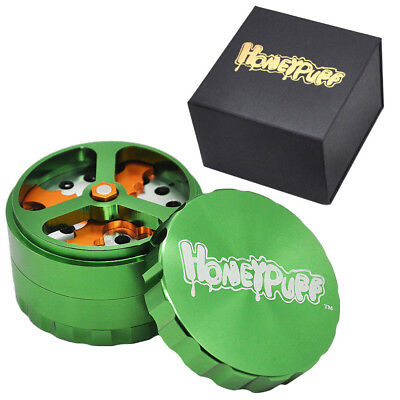 63MM 4 Piece Tobacco Herb Grinder with Cutting Blades Honeypuff Gift Box-Green