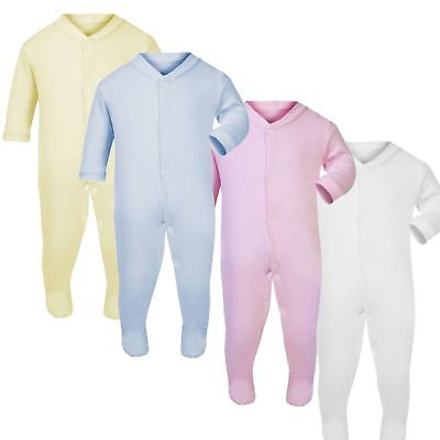BABY Boys Girls Kids Plain Colour Babygrow Bodysuit Sleepsuit Rompersuit Cotton