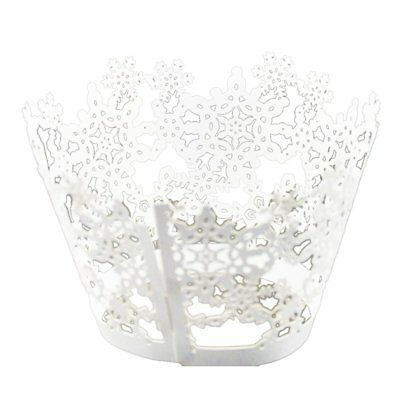 50x Paper Snowflake Design Vine Lace Cupcake Wrappers Table White H6W1