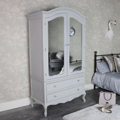 Grey vintage French mirrored armoire double wardrobe bedroom storage ornate chic