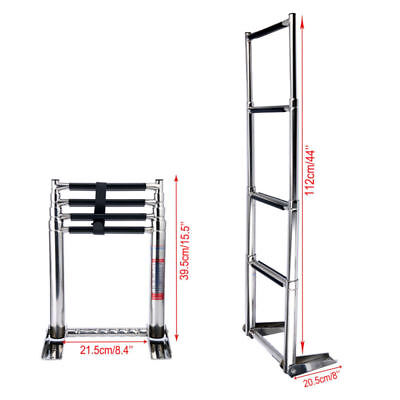 4 Steps Telescoping Stainless Ladder with Handle For Boat Marine, Fast Ship AU