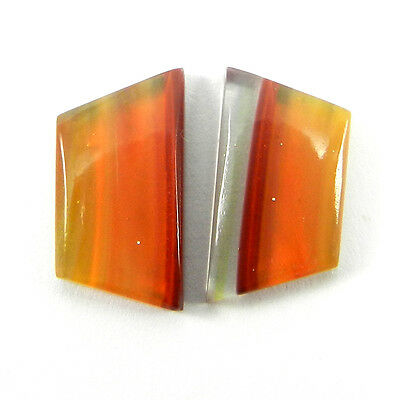 Top !! 1 Pair Mexican Glass Gemstone 9x18mm Fancy Cab 9.3 Cts Stone ER9006