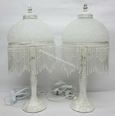 2 White Glass Lamps Ornate Beaded & Fringed Table or Bedside Lamp & White Base