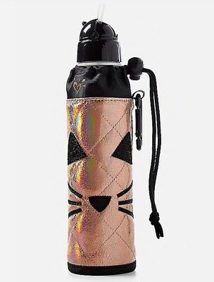 NWT JUSTICE Quilted Cat Sleeve Water Bottle ~ NEW! Back to School!